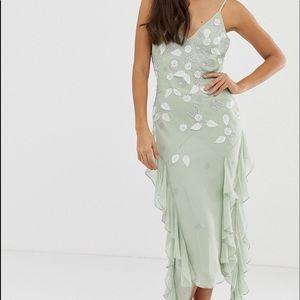 Mint green embellished formal dress